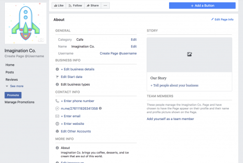 Add Business Details Create A Facebook Business Page