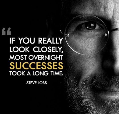 """If you really look closely, most overnight successes took a long time."" – Steve Jobs Inspirational Business Quotes"