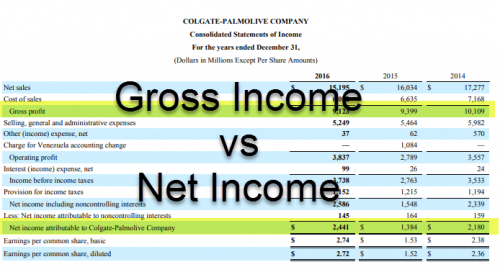 Difference between Gross Income and Net Income